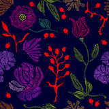 Spring colors. Floral seamless vector pattern with embroidery wildflowers. 1950s and 1960s motifs. Retro textile design collection royalty free illustration