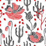 Spring colors. Floral seamless vector pattern with embroidery wildflowers. Stylized hand drawn elements. 1950s-1960s motifs. Retro textile design collection Royalty Free Illustration