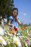 Spring comes. Portrait of beauty little girl in a meadow with wild flowers royalty free stock photo