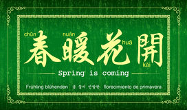 Spring is coming!. Vector Chinese sayings and proverb: Spring is coming Royalty Free Stock Photos