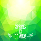 'Spring is coming' abstract polygonal background. Can be used fo Stock Image