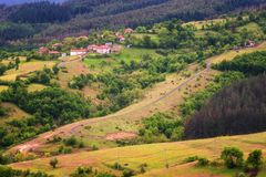 Spring is coming... Amazing spring view with a little village in Rhodopi Mountains, Bulgaria. stock images