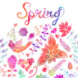 Spring coming card. Floral background, spring theme, greeting ca Stock Image