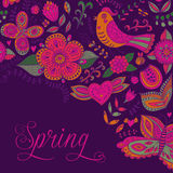 Spring coming card. Floral background, spring theme, greeting ca Royalty Free Stock Images