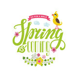Spring is coming card.Lettering ,flowers,bird,ribbon Royalty Free Stock Photos