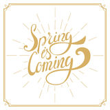 Spring is Coming. Hand drawn lettering. Royalty Free Stock Photo