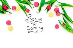 Spring is coming hand lettering surrounded by red tulips and sweets macarons on white background top view copy space Stock Photography
