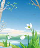Spring is coming. Illustration of an early spring morning Stock Images