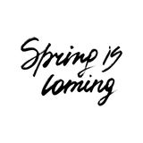 Spring is coming ink modern brush calligraphy Royalty Free Stock Images