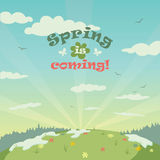 Spring is coming landscape illustration. Spring landscape illustration with title Royalty Free Stock Image