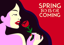 Spring is coming pretty elegant fashion girl smelling rose flower minimal flat design vector illustration. Spring is coming, beautiful sensual fashion woman Stock Images