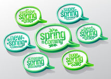 Spring is coming speech bubbles set, new spring collection, super clearance, best offer, mega savings royalty free illustration