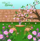 Spring is coming Vector backgrounds. Romantic dinner table. Blossom pink Flowers and green grass. Spring is coming Vector background. Romantic dinner table Stock Photo