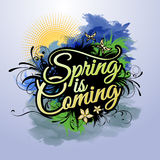 Spring is coming vector inscription Royalty Free Stock Images