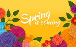 Spring is coming. Vector poster. Abstract flowers stock illustration