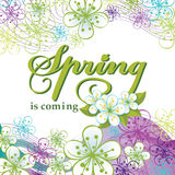 Spring is comming.Word,flowers,wavy lines Stock Photos