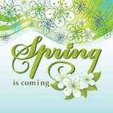 Spring is comming.Word,flowers,wavy lines Royalty Free Stock Images