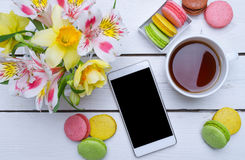 Free Spring Composition: Bright Colors, Multicolored Macaroons And Cu Royalty Free Stock Photos - 89214938