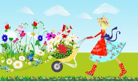 Spring. Composition with colorful flowers and a girl that goes with wheelbarrows Stock Photography