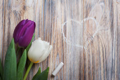 Spring composition with tulips, chalk and heart drawing. On weathered wood background royalty free stock photos