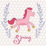 Spring concept card with cute running horse Royalty Free Stock Photo