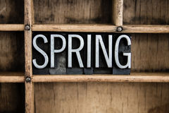 Spring Concept Metal Letterpress Word in Drawer Stock Image