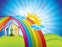 Spring concept with striped circus tent Stock Photos