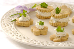 Spring cookies. Crispy homemade cookies with cheese and herbs Royalty Free Stock Photography