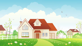 Spring cottage. Illustration of a spring suburb Royalty Free Stock Images