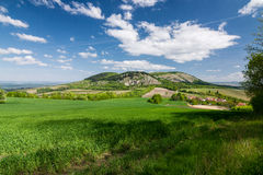 Spring countryside with blue sky and clouds - Palava hills, Czec Stock Images