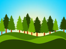 Spring Countryside Indicates Tree Trunks And Landscape Royalty Free Stock Photos