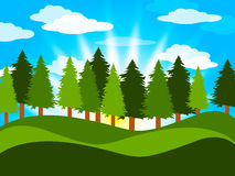Spring Countryside Means Tree Trunks And Meadows. Trees Spring Representing Meadows Treetops And Reforestation Royalty Free Stock Images