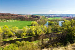 Spring countryside with river Stock Photos