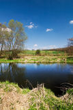 Spring countryside with river Royalty Free Stock Photos