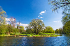 Spring countryside with river Royalty Free Stock Image