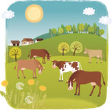 Spring cows. Vector illustration. Lanscape with farm animals Royalty Free Stock Images