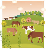 Spring cows. Vector illustration of cows on the pasture stock illustration