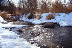 Spring creek ice water frozen river Royalty Free Stock Photos