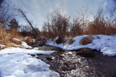 Spring creek ice water Royalty Free Stock Images