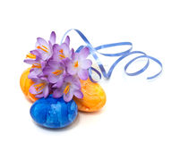 spring crocus with Easter eggs Stock Photo