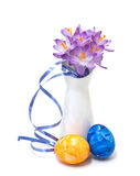 Spring crocus with Easter eggs Royalty Free Stock Photos