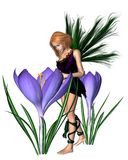 Spring Crocus Fairy - Purple. Spring crocus fairy with purple flowers, 3d digitally rendered illustration Royalty Free Stock Images
