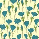 Spring crocus flowers seamless pattern Stock Photo
