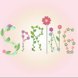 Spring. Cute image text spring with flowers Stock Illustration