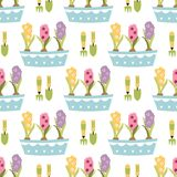 Spring cute seamless pattern Illustration pots hyacinths leaves flowers Garden tools. Hand drawn cute spring seamless pattern. Illustration with garden tools stock illustration