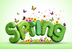 Spring 3D Rendered Text for Spring Poster Design Illustration Stock Images