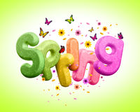 Spring 3D Rendered Text for Spring Poster Design Illustration Royalty Free Stock Image