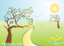 Spring day. A vector illustration of a sprin day at the hill where flowers grow and birds fly to the sky Stock Images