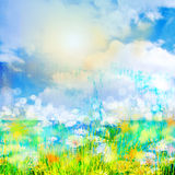 Spring day. Background with sky and cloud and flowers Royalty Free Stock Images