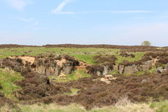 A spring day on the moors. A view of rocky outcrops on the moor covered with brown clumps of yet to flower heather with a clear blue sky in the background Stock Images